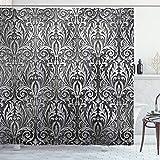 ABAKUHAUS Silber Duschvorhang, Klassische Blumenverzierung, mit 12 Ringe Set Wasserdicht Stielvoll Modern Farbfest & Schimmel Resistent, 175x180 cm, Schwarz Grau