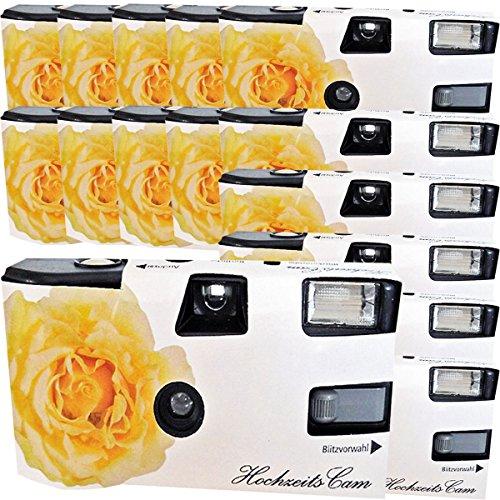 """15x PHOTO PORST Hochzeitskamera / Einwegkamera \""""gelbe Hochzeitsrose\"""" (deutsche Bedienungsanleitung, mit Blitzlicht und Batterien, je 27 Fotos, ISO 400 Fuji)"""