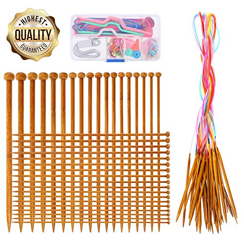 Knitting Needles Set- RELIAN 36 Pcs 18 Sizes Single Pointed Bamboo Knitting Needles + 18 Pairs 18 Sizes Circular Knitting Needles with Colored Tube +Weaving Tools Knitting Kits