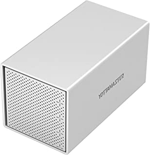 Yottamaster Aluminum Alloy 4 Bay 3.5 Inch Type C External Hard Drive RAID Enclosure Support RAID 0/1 / 3/5 / 10 / JBOD/Clear -Silver