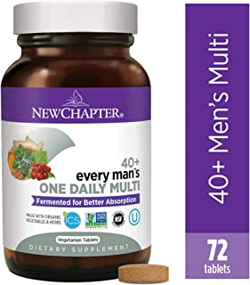 New Chapter Men's Multivitamin, Every Man's One Daily 40+, Fermented with Probiotics + Saw Palmetto + B Vitamins + Vitamin D3 + Organic Non-GMO Ingredients, 72 Count