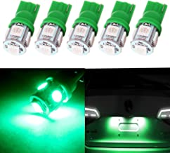 cciyu 194 Extremely Bright LED Bulbs T10 5-5050-SMD Light Lamp License Plate Light Lamp Wedge T10 168 2825 W5W Green Pack of 5