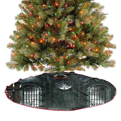 Adorise Christmas Tree Skirt Moon Halloween Ancient Historical Gate Gothic Background Candles Fiction View Gray 2020 New Christmas Tree Skirt Decoration Stunning and Classy Looking - 48 Inch