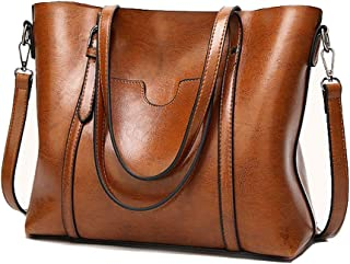 Leather Tote Bags for Women, ZYSY Large Capacity Classic Ladies Tote Handbags Shoulder Bags for Work Travel Satchels for Women Brown