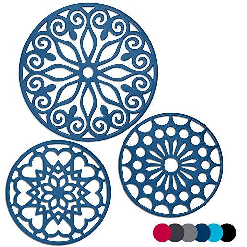 Juego de 3 salvamanteles de silicona con 1 extragrande incluido, con aislamiento, flexible, antideslizante, gruesos, redondos, para ollas y sartenes, color azul marino