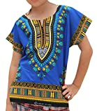RaanPahMuang Kids Unisex African Dashiki Shirt, 100% Soft Cotton, Short Sleeve, 3-6 Years, Egyptian Blue