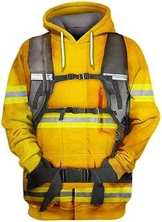 Hoodies 3D Digital Printing Firefighter Hooded Sweater Men's Trend Loose Casual Hoody