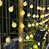 Guirnalda Luces Exterior Solar, 50 LED Cadena Solar de Luces, IP65 Impermeable Luces Navidad Guirnalda Solares, 8 Modos Guirnaldas Luces Solar para Exterior, Interior, Jardín, Boda, Fiesta, Decoración