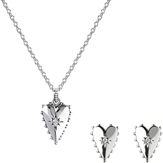 AURA BY TJM 925 STERLING SILVER & WHITE CUBIC ZIRCONIA HEART DESIGN EARRING/PENDANT JEWELRY SET