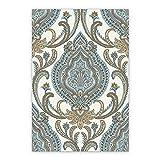 BirdsEcho Piso de Vinilo Estera de la Sala 60x80cm Cocina Sala de Estar Baño Alfombra de Linóleo Hogar Moderno Decoración PVC Alfombra- Elegante patrón Damasco