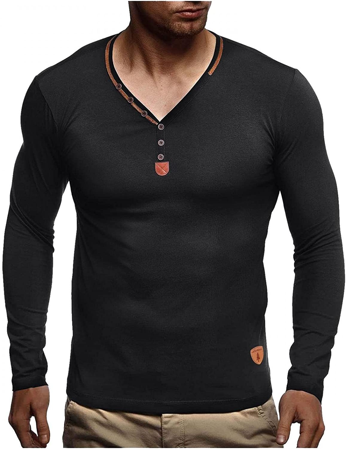 Mens Shirts Men's Autumn Winter Multi-Button Standard Solid Color V-Neck Long Sleeve Tee Shirts for Men Polo Shirts for Men