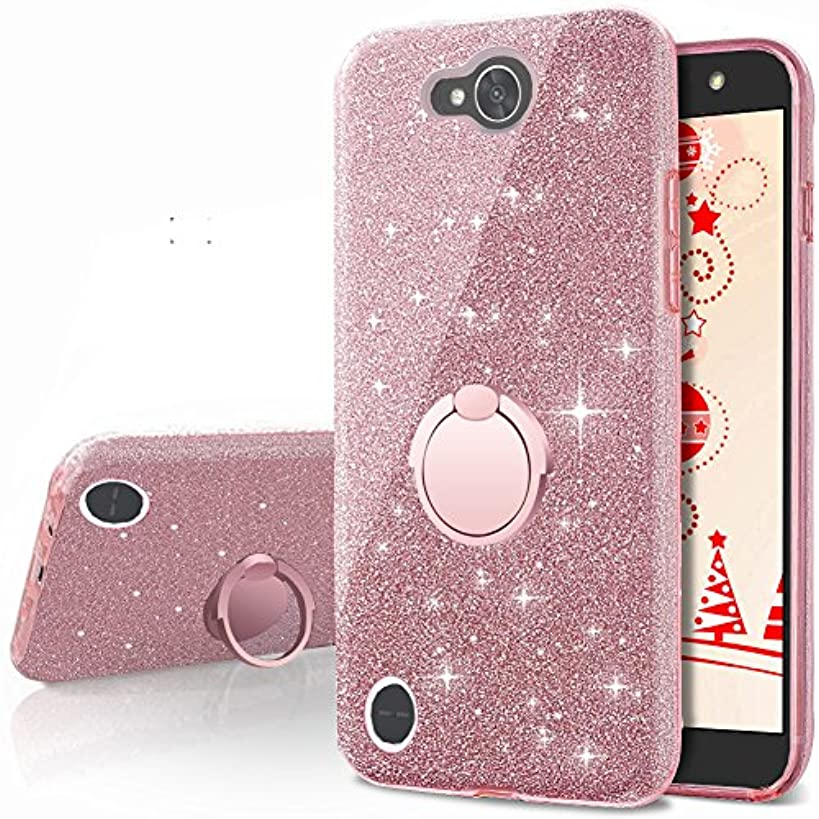 LG X Power 2 Case,LG X Charge Case,LG Fiesta 2 Case, LG Fiesta LTE Case,LG K10 Power Case,Silverback Girls Bling Glitter Sparkle Case with Ring Stand, TPU Outer Cover + Hard PC Inner for LG LV7 -RG