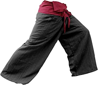 LannaPremium Mens 2 Tone Thai Fisherman Pants Yoga Trousers Free Size Cotton, Rustic Red and Charcoal, XX-Large