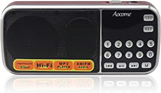 Aocome AM FM Portable Mini Radio Clear Speaker Music Player, Micro SD/TF Card Slot, USB Charging Cord or Rechargeable Li-ion Battery, with Earphone Jack (BM8 Red)