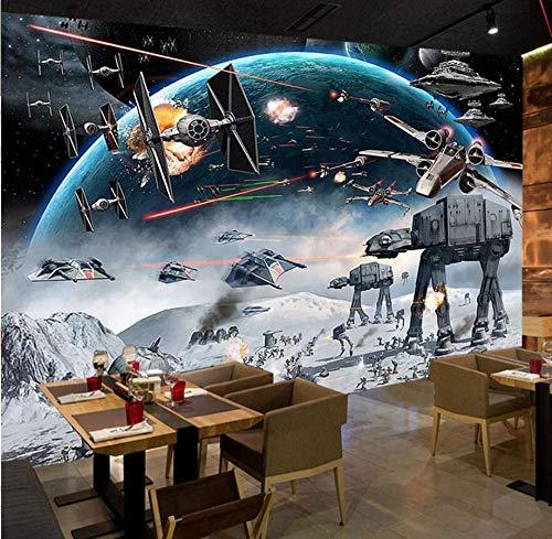 3D-vliesbehang, 3D-fotobehang, cartoon, Star Wars, kinderkamer, slaapkamer, wandschilderij voor de woonkamer, wandschilderij 430 x 300.