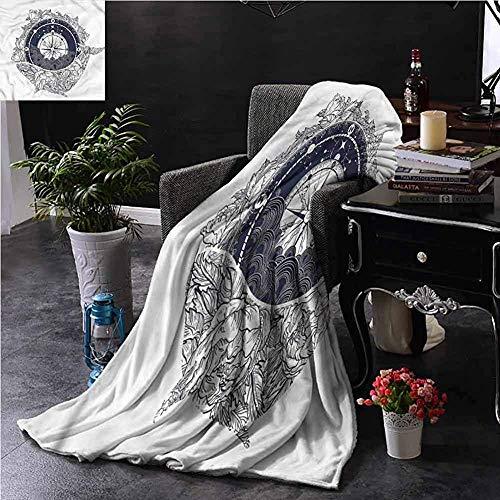 Searster$ Fleece Blanket Nautische Erröten Decke Antik Kompass Whale Dorm Bett Babybett Reisen Picknick,102 X 127 cm (50 X 40 Zoll)
