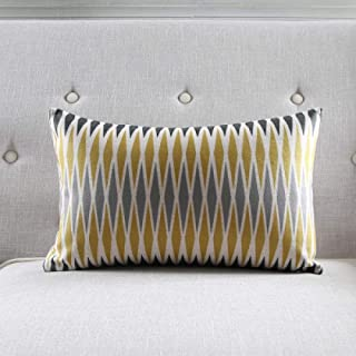 BEPM Funda de cojín para sofá, fundas decorativas de lino, funda de cojín de color amarillo, gris, cebra, diseño geométrico, 45 x 45 cm, 30 x 50 cm, 30 x 50 cm