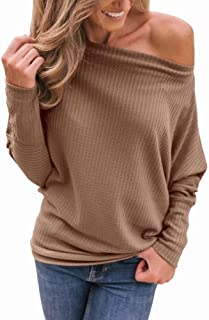 LACOZY Women's Off Shoulder Tunic Tops Casual Long Sleeve Shirts Oversized Waffle Knit Sweater