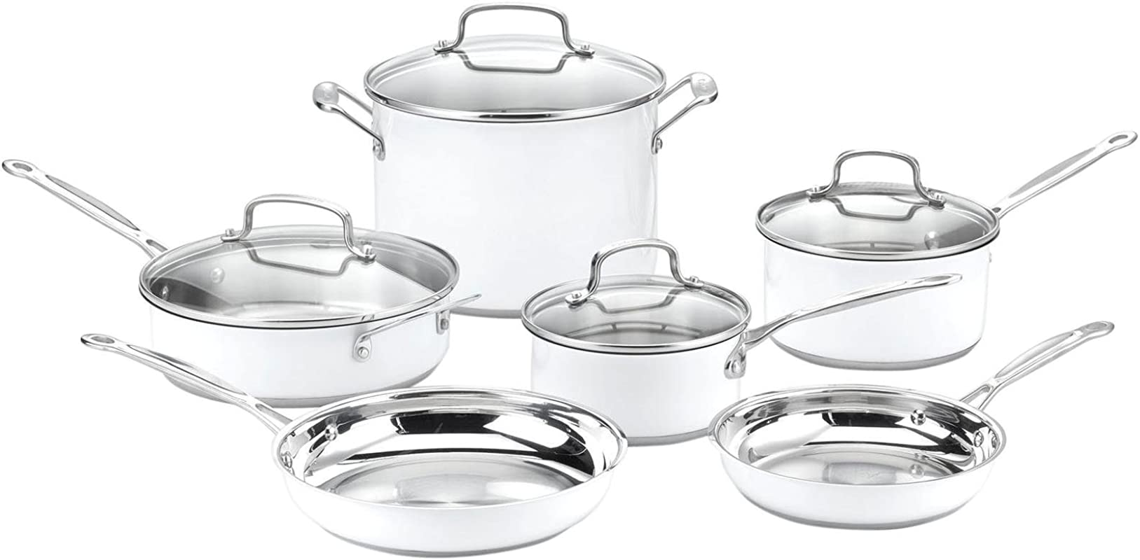 Cuisinart CSMW 10 Chef S Classic Stainless Steel 10 Piece Cookware Set White