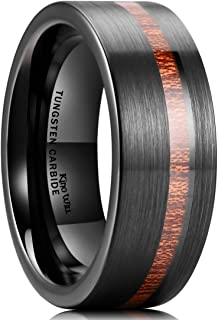 King Will Nature 8mm Wood Inlay Polish Unisex Black Tungsten Carbide Wedding Band Engagement Ring
