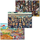 GREAT ART 3er Set XXL Poster – Urban Jungle – Großstadtdschungel New York City Ausblick Times Square Illustration Wimmelbild Dekor Inneneinrichtung Wandbild Plakat je 140 x 100 cm