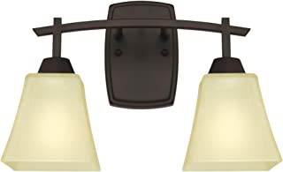 Westinghouse Lighting 6307400 Midori Two-Light Indoor Wall Fixture, Oil Rubbed Bronze Finish with Amber Linen Glass