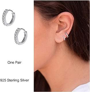 925 Sterling Silver Small Hoop Earrings Cubic Zirconia Cartilage Earring Earing Piercing Earrings Ear Cuff Huggie Tiny Hoops Earrings for Women Girls Men