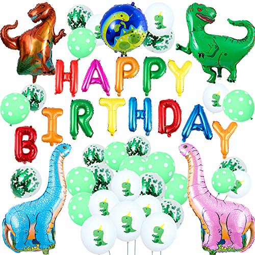 Remebe 48 Pcs Dinosaurier Party Geburtstagsdeko, Dinosaurier Party Dekoration, Dinosaurier Geburtstag Set für Kinder, Dinosaurier Alles Gute Zum Geburtstag Ballons für Kinder