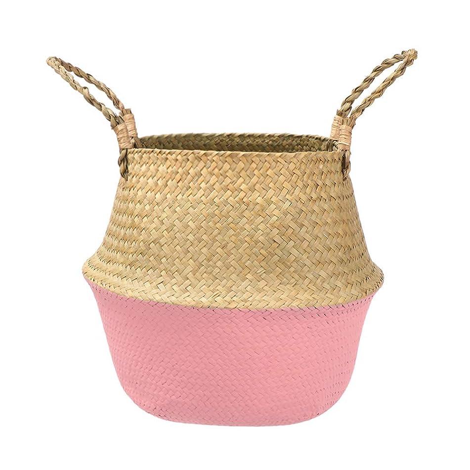 虫を数える繁殖ひどい編まれたフラワーバスケットシーグラスストレージウィッカー折りたたみ植物ストローポットバッグ手作りハンギングバスケット結婚式の家の装飾(1個)(pink)