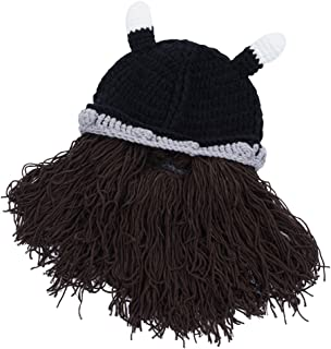 Wiwsi Mens Womens Beanie Hat with Detachable Beard Novelty Beard Hat Face Mask