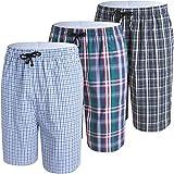 JINSHI Hombre Pijama Pantalones Cortos de Algodón Elástico a Cuadros Ropa de Salón Noche Verano Mix Pack 3 Talla 2XL