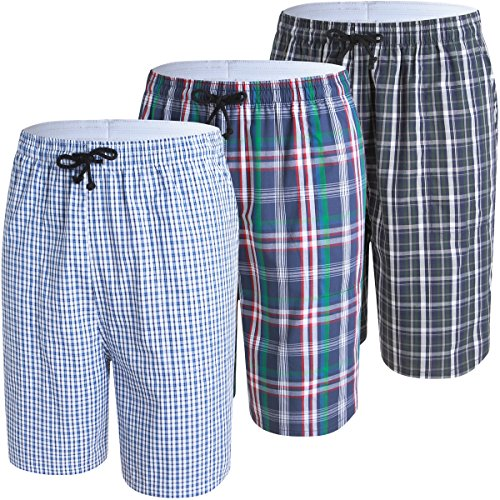 JINSHI Herren Schlafanzughosen Kurz Karierte Pyjamahose Baumwolle Nachtwäsche Sleep Sommerhose mit Seitentaschen 3er Pack-03 Größe XL