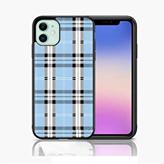 XUNQIAN iPhone 11 Pro Max Case, Limited Edition Blue Plaid Thin Soft Black TPU +Tempered Mirror Material Protective Case ...