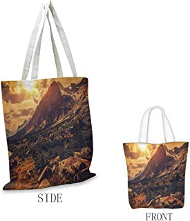 Europe Pattern shopping bag Italian Alps Scenery Northern Italy Rocks Granite Wild Plants Scenic Picture Great for shopping W15.75 x L17.71 Inch Yellow Pale Brown