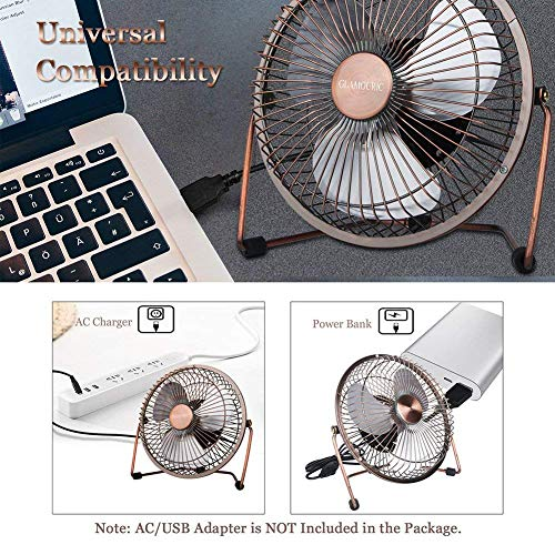 GLAMOURIC Desk Fan - 6 inch USB Quiet Desk Fan Retro Design Equipped with speed regulator(adjust speeds as you like)for Work Home School Travel (Bronze No Plug))