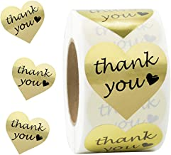 SJPACK Gold Heart Shape Thank You Stickers, Foil Decorative Sealing Labels, 500 Stickers/Roll, 1.5