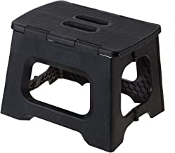 Vigar Compact Foldable Stool, 9 inches, Lightweight, 330-pound Capacity Non-Slip Folding Step Stool for Kids and Adults, Black