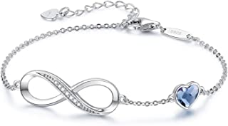 Infinity Heart Symbol Charm Bracelet for Women 925...