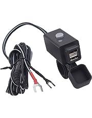 SONONIA オートバイ用 デュアル USBポート 携帯電話 充電器ソケット 電源スイッチ付き