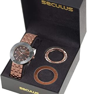 KIT Relógio Seculus Feminino 20598LPSVRS1 Analógico Marrom