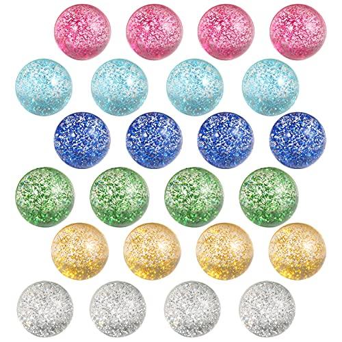 Pllieay 24pcs Bouncy Balls Glitter Bounce Balls, 32mm 6 Colors Bouncy Balls for Kids