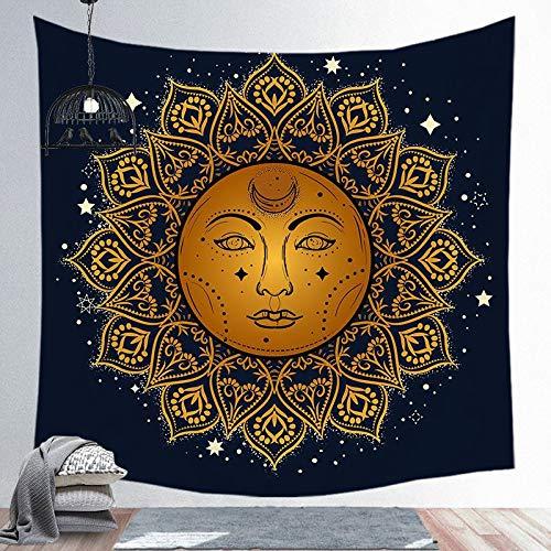 Tapiz de sol y luna Mandala colgante de pared Tarot tela de fondo psicodélico Tapiz brujería tapiz de tela de pared a12 73x95cm