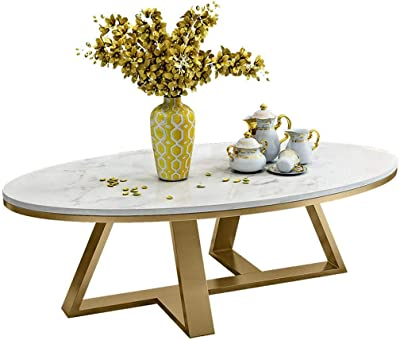 Coffee Table,Simple Living Room Oval Modern Marble Coffee Table(White,80 * 40 * 45Cm)