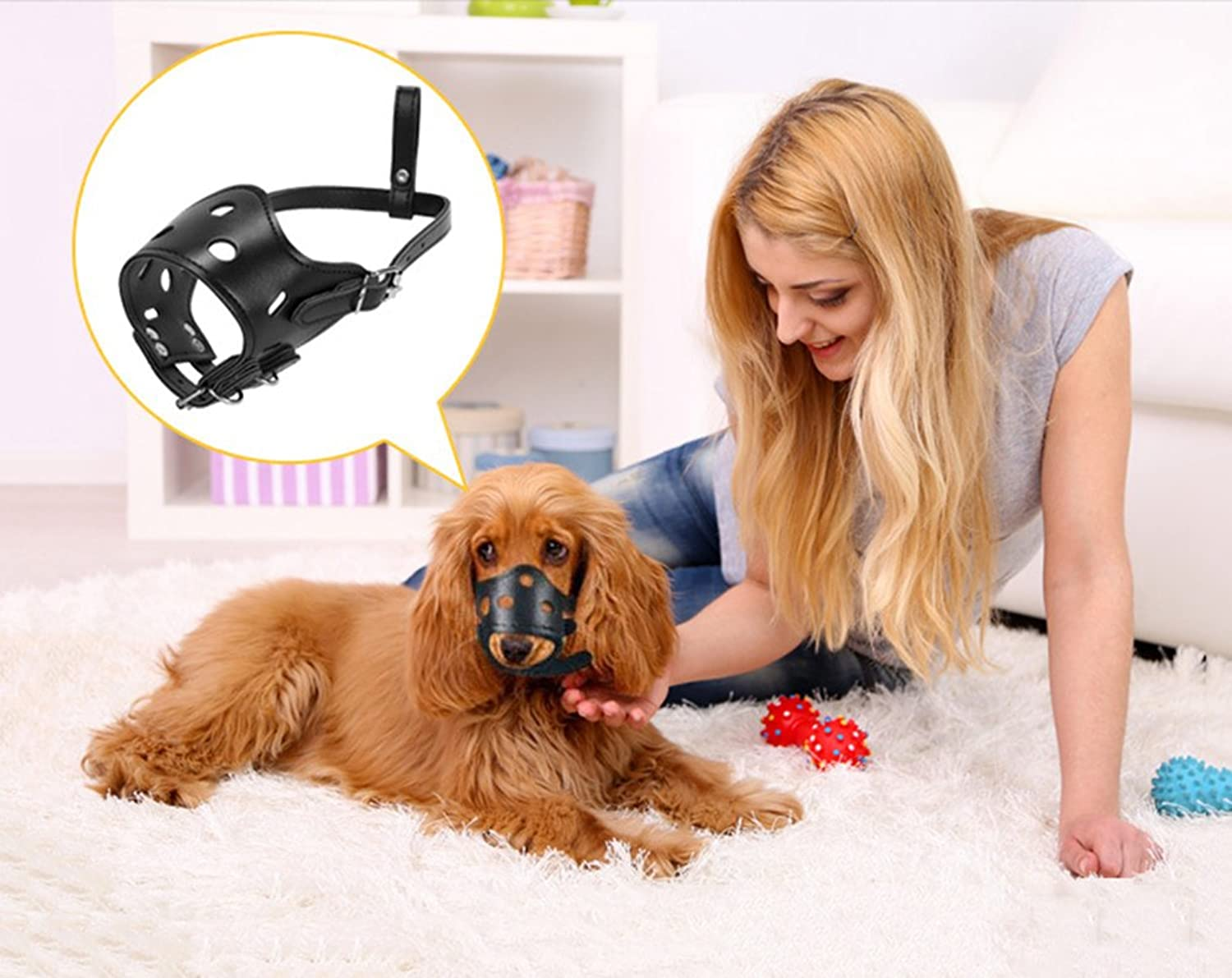 Adjustable Dog Muzzle Soft Prevent Biting Chewing Anti Bitin Leather Comfortable Mask