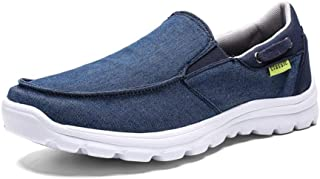 AiHua Huang Fashion Sneaker for Men Sports Shoes Slip On Style Cloth Material Simple Pure Color Low Top Lightweight (Color : Blue, Size : 9.5 UK)