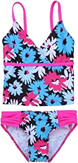 FEESHOW Kids Girls Tankini Swimsuit Floral Printed Swimwear Bathing Suit Set Tops with Bottoms