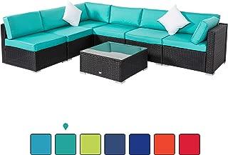Peach Tree Outdoor Furniture Sectional Wicker Sofa Set 7 PCs Patio Rattan, All-Weather Washable Tiffany Blue Cushioned, w/Glass Coffee Table, Backyard, Pool