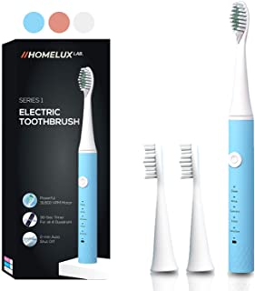 HomeLux Lab Electric Toothbrush Powerful Sonic Cleaning | Rechargable Electric Toothbrushes for Adults and Kids - Smart Timer, 5 Modes, 3 Brush Heads, 31800 VPM Electronic Toothbrush Electric - Blue