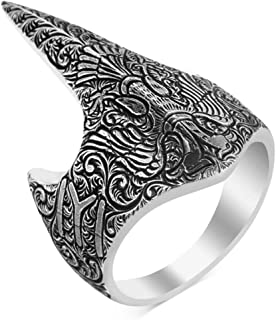 mysilverworld Solid 925 Sterling Silver Double Headed Eagle IYI Kayi Tribe Archer Thumb Men's Ring