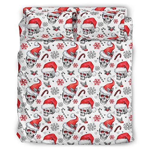 Greenieey Juego de funda de edredón de 4 piezas, diseño de calavera navideña, con 2 fundas de almohada, color blanco, 203 x 230 cm
